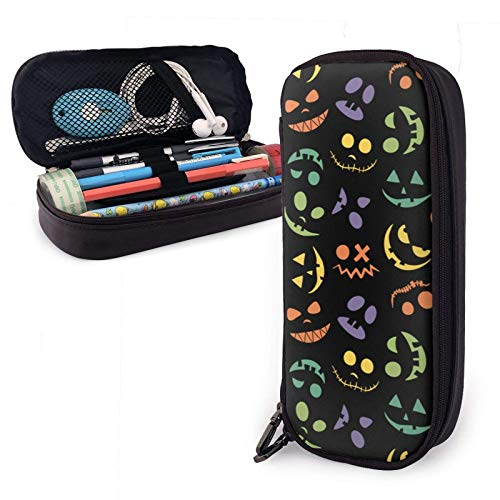 XCNGG Pumpkin Face Jack O Large Capacity Pencil Case Organizer Storage Pencil Bag Pen Pouch Stationery with Zipper for School College Student Girls Boys