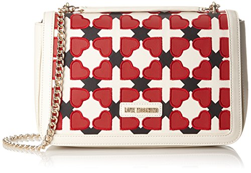 Love Moschino Borsa Pu Avorio/nero/rosso, Sacs portés épaule femme, Multicolore (Ivory-black-red), 6x20x30 cm (B x H T)