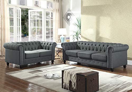 Best Master Furniture Venice 2 Piece Upholstered Sofa Set, Charcoal