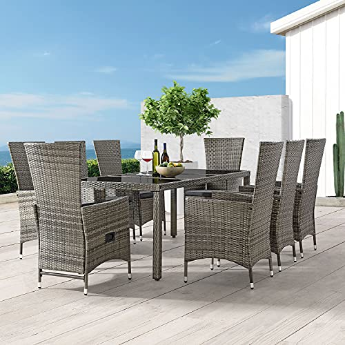 ArtLife Polyrattan Sitzgruppe Rimini Plus 9-teilig grau-meliert | Gartenmöbel Set mit Tisch, 8 Stühlen & Kissen | graue Bezüge | Rattan Balkonmöbel - 3