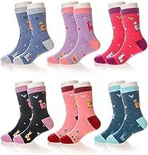 Eocom 6 Pairs Children's Winter Warm Wool Socks Kids Toddler Boys Girls Cartoon Animal Soft Thick Thermal Crew Socks(Alpaca, 8-12 Years)