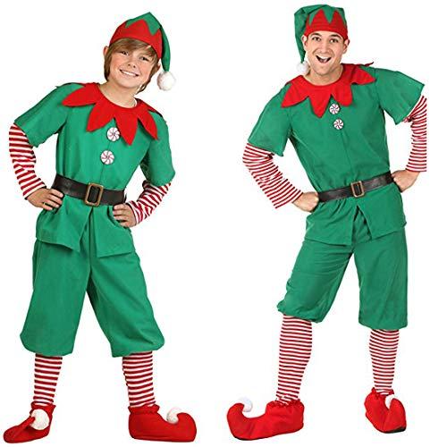 Unisex Weihnachten Kostüm Kinder Damen Herren Weihnachtself Xmas Elf Outfit Fancy Dress mit Hut