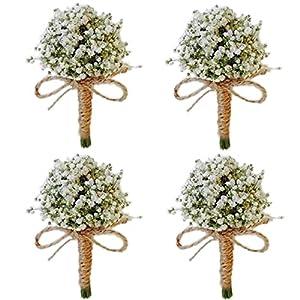 Yokoke Handmade Artificial Succulent Corsage Wristlet Realistic Berry Green Plants Boutonniere for Wedding Decor (4 Pcs Baby's Breath Boutonniere Gypsophila Dried Flowers)