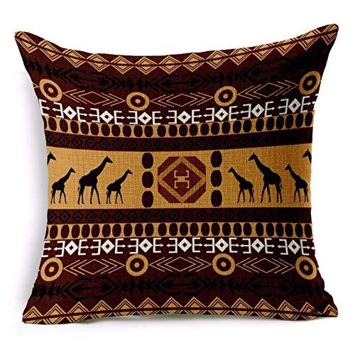 JONJUMP Funda de almohada decorativa de lino étnico con diseño de rayas nacionales de estilo bohemio, de 45 cm x 45 cm