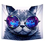 Luckey1 Popular Handicraft Tapestry Handmade Cool Cat Print Tapestries Wall Art Wall Hanging Tapestry 80in x 60in (Sunglasses Cat)
