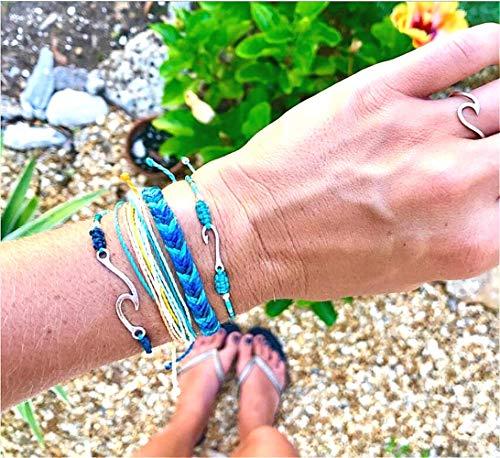 Cathercing Boheemse Mode Handgeweven Gekleurde Blauwe Wave Beaded Touw Armband Enkel voor Vrouwen en Meisjes Chique Bedel Verstelbare Ketting Sieraden Hawaii Beach(4 stuks)