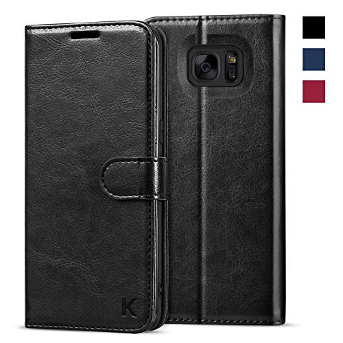 KILINO Galaxy S7 Edge Wallet Case [Premium Leather] [Soft TPU] [RFID Blocking] [Shock-Absorbent Bumper] [Card Slots] [Kickstand] [Magnetic Closure] Flip Folio Cover for Samsung Galaxy S7 Edge - Black