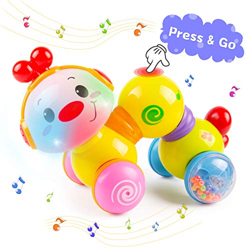 Baby Musical Toys, Baby Toys for 6 7 8 9 10 11 12 Months Press & Go Interactive Crawling Toys with Music & Light Up Caterpillar Toys Early Educational Musical Toys for 1 2 Year Old Girls Boys