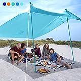 bessport tenda da spiaggia 3×3m | anti-uv upf 50+ | tendalino da spiaggia con 4 sacchi di sabbia e 2 pali in alluminio adatto per spiaggia picnic cortile campeggio