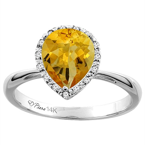 Sabrina Silver 14K White Gold Natural Citrine & Diamond Halo Engagement Ring Pear Shape 9x7 mm, Size 9.5