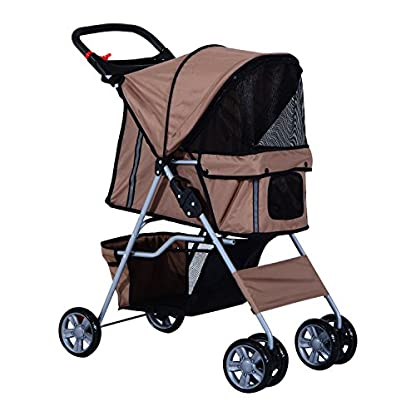 PawHut Pet Stroller Cat Dog Basket Zipper Entry Fold Cup Holder Carrier Cart Wheels Travel Brown 1