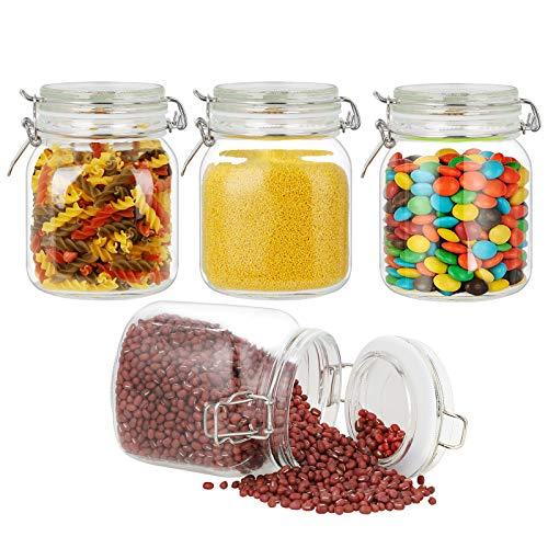 Vorratsdosen Glas 4er Set, Glasbehälter Vorratsgläser Mit Deckel, Einmachgläser Luftdicht Vorratsgläser, Aufbewahrungsglas Küche Tee Gewürzgläser, Vorratsdosenset Glas für Bohnen, Zucker, Getreide