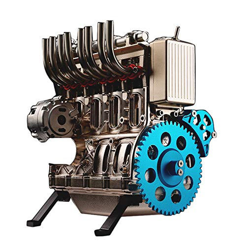 YIFAN V4 4-Cylinder Car Engine Assembly Kit That Runs, DIY Full Metal Engine Model Kits to Build for Adults Kids Over 12 Years