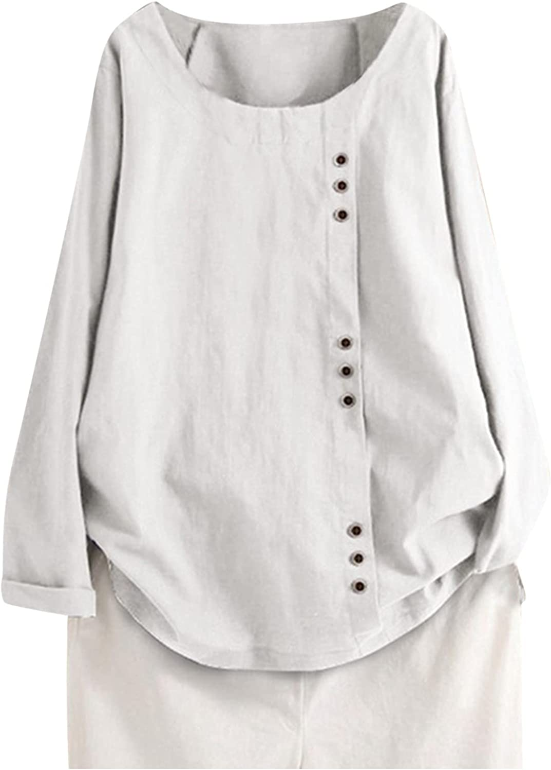 Plus Size Long Sleeves Tops for Neck Boat Top Cotton sale Branded goods Linen Women