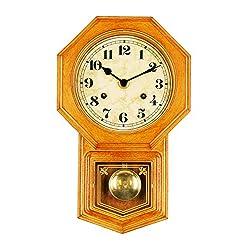 Bestime Small School House Pendulum Wall Clock. Light Wood Finish.
