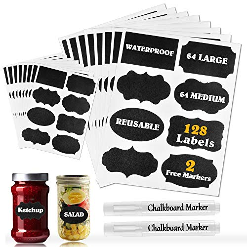 Waterproof Chalkboard Labels Stickers 128 Pack, Erasable & Removable Stickers with 2 Chalk Liquid Markers, Reusable Personalized Stickers for Storage Bins Mason Jars,Party,Bottle,Pantry,Office,Food