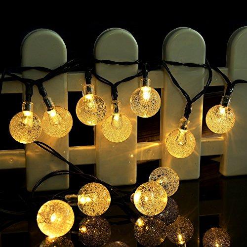EleganBello Guirnalda Luces 6M 30 LED Blanco Cálido 2cm Bombillas Panel Solar Usar para Cualquier Ocasión una Fiesta, un Cumpleaños, Navidad