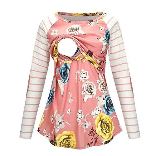 Mitlfuny Premamá T-Shirt a Capa Lactancia Busto Fruncido para Mujer Camiseta de Maternidad de Manga Larga con Estampado Floral de Maternidad para Mujeres Que amamantan