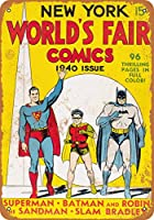 8 x 12 CM メタルサイン - 1939 New York World's Fair Comics 2 メタルプレートブリキ 看板 2枚セットアンティークレトロ
