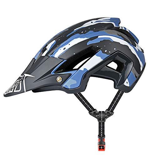 Yiesing Ciclo Casco, Casco Leggero Mountain Bike 300g 56-60cm con Visiera Staccabile, Regolabile in Forma, 15 Vetns MTB Casco della Bicicletta per Gli Uomini Adulti e Le Donne-Verde Azul+ Nero