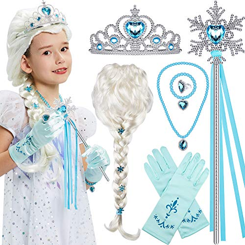 Tacobear Elsa Wig Frozen Elsa braid with Princess Tiara Princess Elsa Dress Up Costume Accessories for Kids Girls