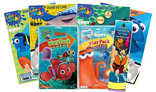 KaleidoQuest Bundle of 7 Ocean-Themed Coloring and Activity Items - Four Finding Dory Coloring Books, Finding Nemo & Dory Grab & Go Play Packs, Ocean-Themed Colorable Bookmark