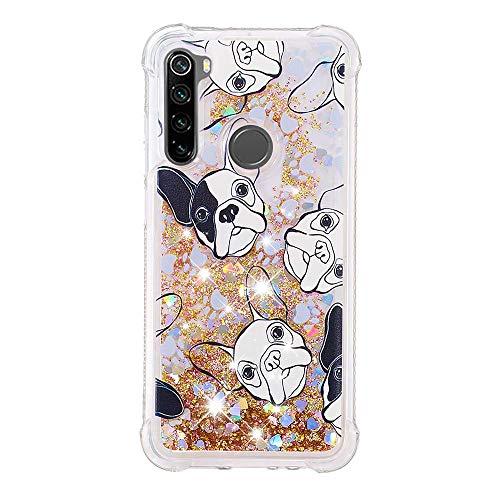 HopMore Glitter Funda para Xiaomi Redmi Note 8 Purpurina Silicona Cover 3D Liquido Brillante Dibujos Transparente Gel Carcasa Resistente (Borde Antigolpes) Case Caso Protección - Perro Blanco Negro