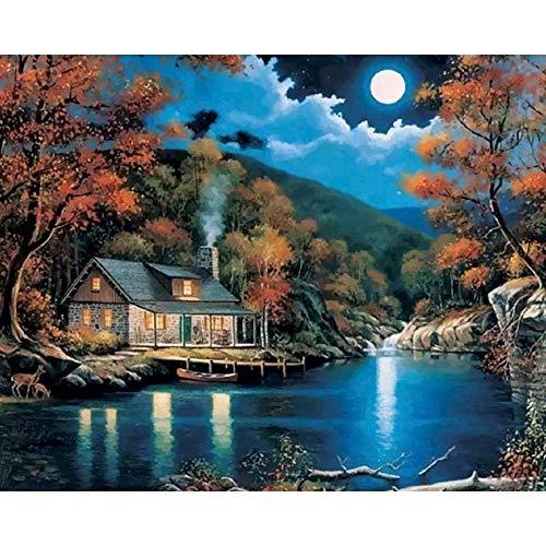 Digitales ?lgem?lde nach Zahlen Landschaft auf Leinwand Flussmond ?lfarbe F?rbung nach Zahlen Malen Weihnachten Home Decor 40x50cm