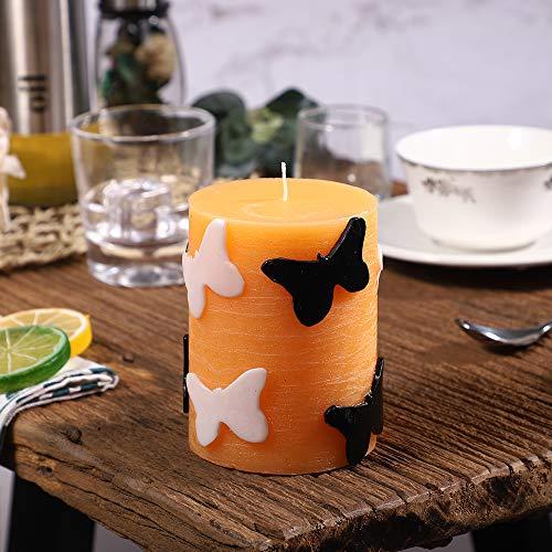 YAMUDA Vela Pilar, Naranja sin Humo, Vela sin Perfume para decoración de la Familia (3 x 4 Pulgadas)