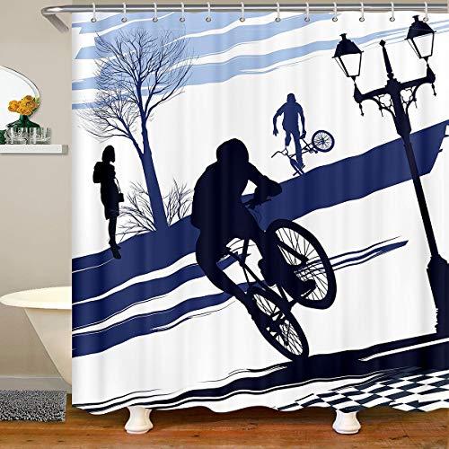 Loussiesd Extreme Sports - Cortina de ducha con diseño de árbol para niños, adolescentes y árboles, impermeable, 180 x 200 cm