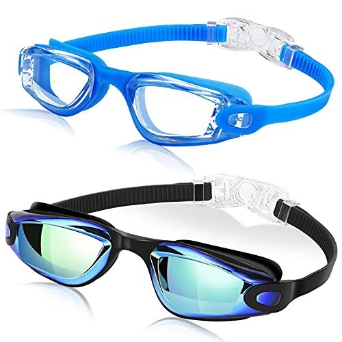 DasMeer Kinder-Schwimmbrille, 2 Stück, kein Auslaufen, Anti-Beschlag, UV-Schutz für Jungen und Mädchen im Alter von 3–9 Jahren (Aqua Blue & Clear Blue)