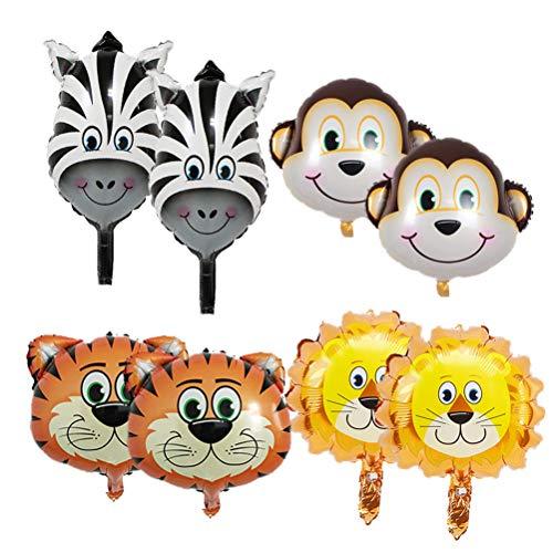 Amosfun 8pcs Globos de Fiesta de Globos de Animales para la Selva temática cumpleaños Fiesta de Bienvenida al bebé Decoraciones del Partido favores