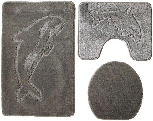 Ilkadim Delphin Badgarnitur 3 TLG. Set 55x85 cm einfarbig, WC Vorleger mit Ausschnitt für Stand-WC (grau)