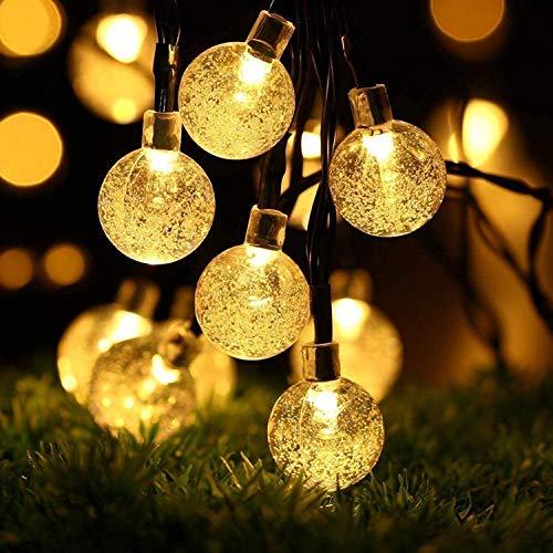 100er LEDS Kugel Lichterkette 10M, mit EU Stecker, Lichterkette aussen, LED Lichterkette, Kristall Kugeln wasserdicht Außer/Innen Lichter Beleuchtung für Garten, Bäume, Terrasse, Warm white