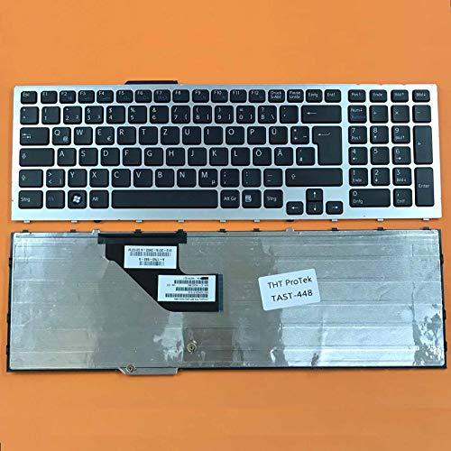 kompatibel für Sony Vaio PCG-81212M, PCG-81212L Tastatur - Farbe: Schwarz - mit Silber Rahmen Deutsches Tastaturlayout