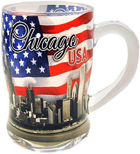 Chicago Patriotic Skyline Souvenir Beer Mug Featuring the American Flag