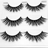 CERROQREEN Eyelashes, 3 Pairs 5D Eyelash Handmade Long Lash Extension Eyelashes Make Up Reusable And Soft False Eyelashes (Black 3 pairs)