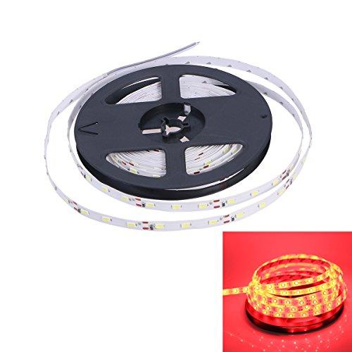 LEDMOMO 5M SMD 5630 LED tira luces, 60-LED tira de luz flexible para la decoración del partido casero Fuente de alimentación 12V 5A (luz roja)