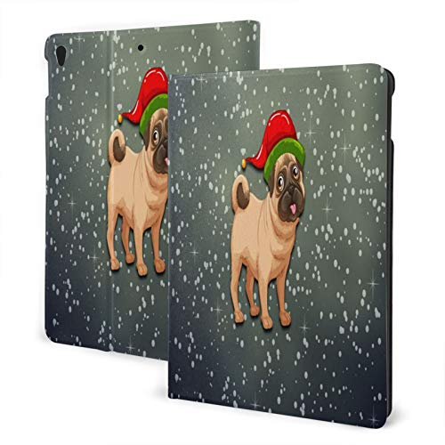 Baliboon Xmas Pug Hat Galaxy Ipad Case Anti-Slip Lining Protective Case Multi-Angle Support Shell Stand Cover 360 Degree Rotating Ipad Air Case Protector With Auto Wake/Sleep For Ipad Air3/Pro 10.5 In