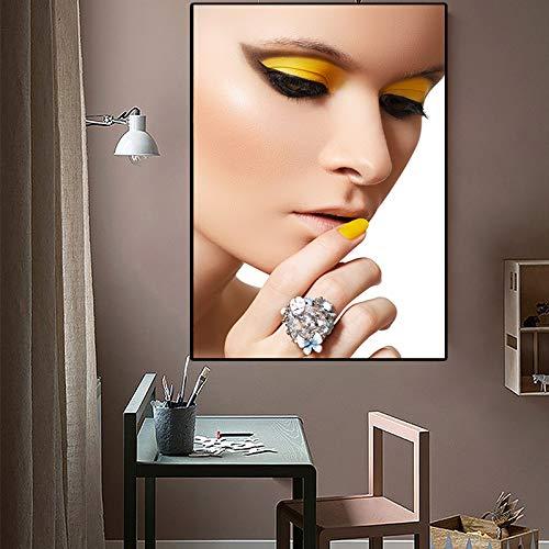 Sanzangtang Meisjes make-up olieverfschilderij op canvas mooie kunst poster en prints Nordic woonkamer muurschildering zonder lijst