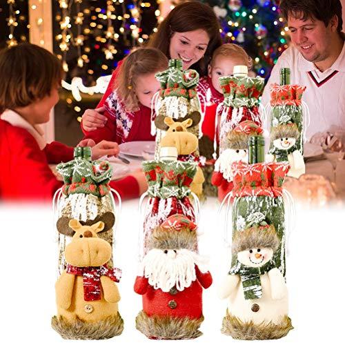 Weinflaschenabdeckung für Weihnachten, Weihnachtsmann, Schneemann, Elch, Champagner, Geschenktüte, Weinflaschen-Kleid, Weihnachtsparty-Dekorationen