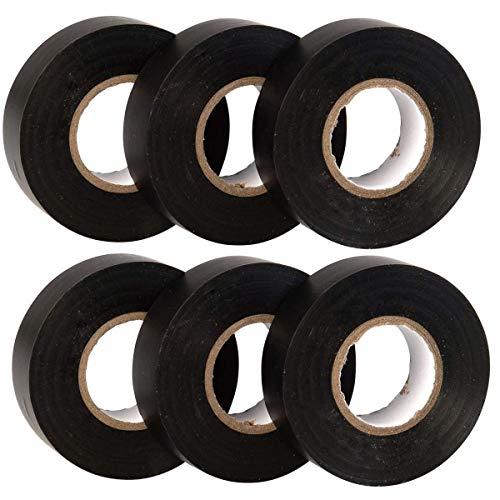 Isolierband,DBAILY 6pcs PVC Isolierband Klebeband Schwarz 18mm*20m Isolierbänder Wird für die Elektrische Isolierung Sowie für Verschiedene Andere Zwecke im Haushalt Verwendet