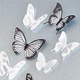 Chytaii.18 Pcs Decoracion Pared Pegatinas Niño Dormitorio Cristal 3D Mariposas Autoadhesivo Mural Ideal para Decorar Los Mobiliarios Dormitorios Sala Aulas Habitación para Niños Cocina Etc