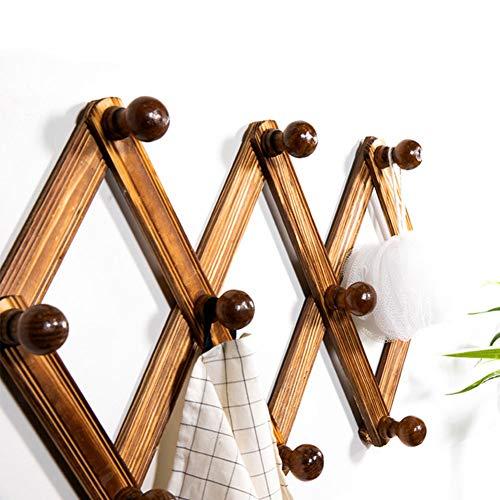 Garderobenregal Wandgarderobe Holz Garderobenleiste Aufhänger Eingangsregal Regal Erweiterbar Akkordeon 10 Haken für Flur Badezimmer Wohnzimmer Küche