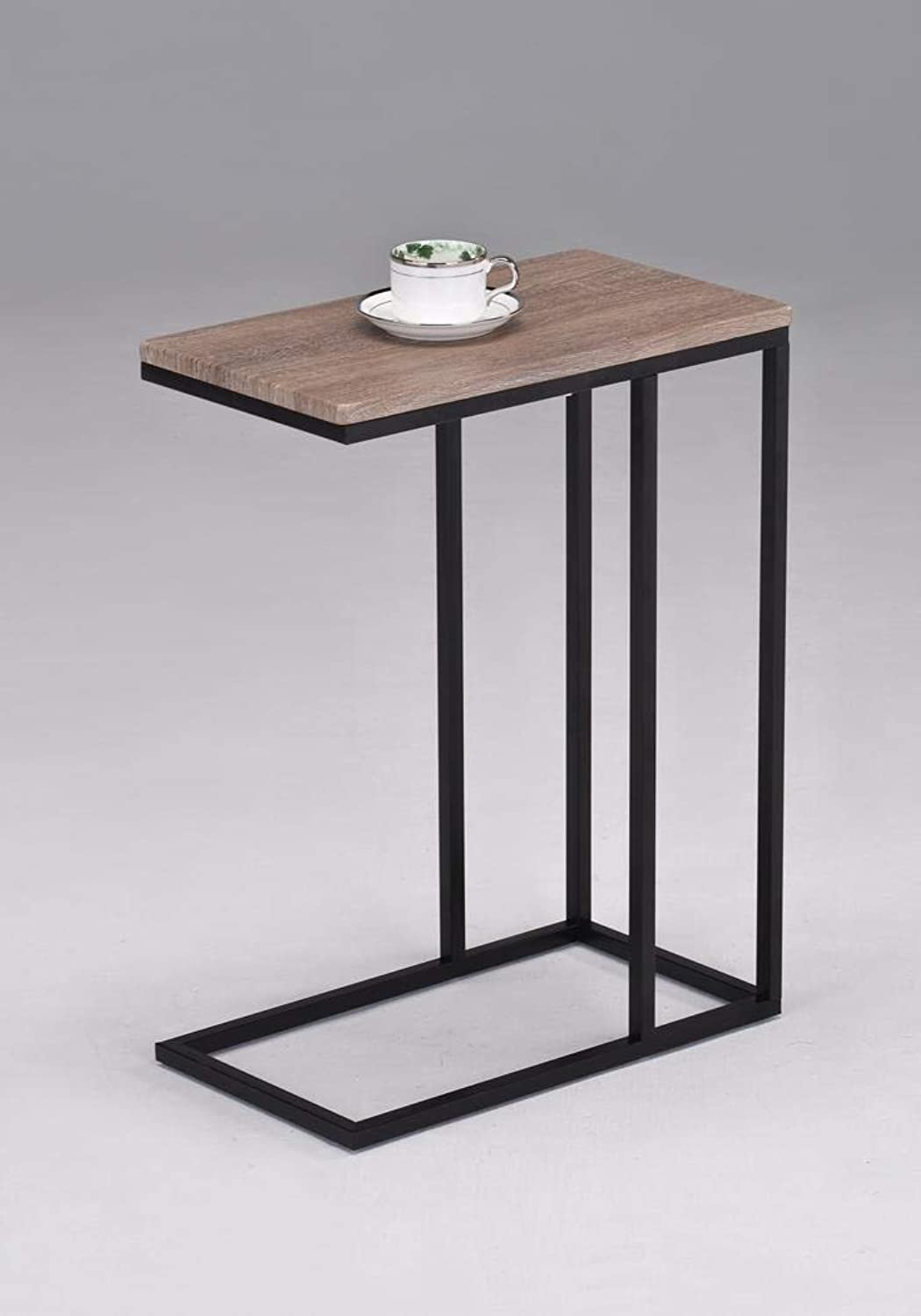 Reclaimed Wood Look Finish Chrome Snack Side End Table