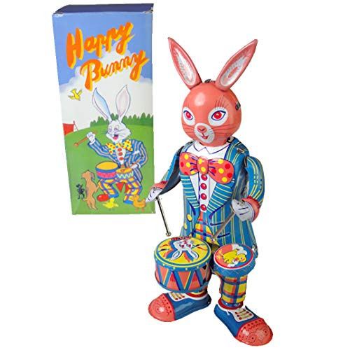 MS298 Tin Toy Windup Drumming Happy Bunny Antique Replica windup Lapin de Pques