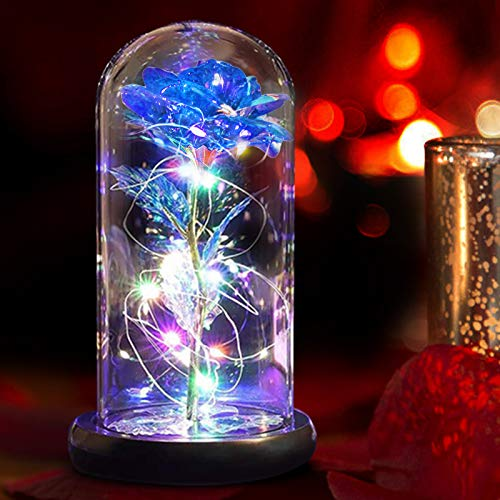 Greenke Beauty and The Beast Rose Unique Gifts for Women, Galaxy Artificial Flowers Rose in Glass Dome with Led Lights, Birthday for Mom Grandma Wife Friends