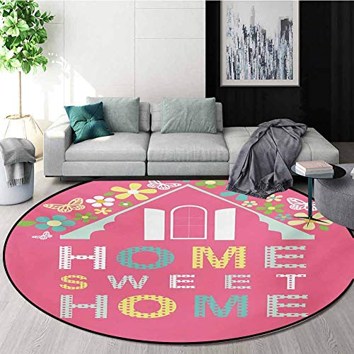 Buy Bargain RUGSMAT Home Sweet Home Computer Chair Floor Mat,Abstract Roof and Window Surrounded by ...