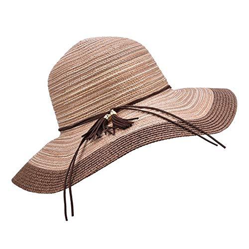 Sonnenhut Hut Sommer Übergroße Krempe Sonnenhut Für FrauenStrohweberSonnenschutzWeibliche Kappen Elegante Gestreifte Sonnenhut OneSize 07
