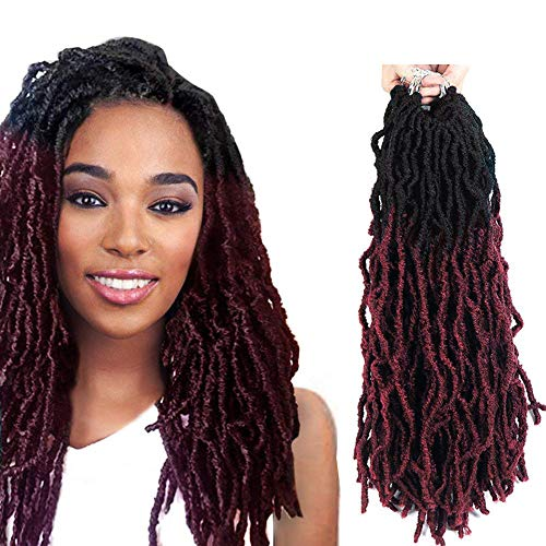 FASHION IDOL 6 Bundles Wavy Faux Locs Crochet Hair 18 Inch Nu Locs Crochet Hair of Synthetic (NATURAL BLACK & WINE RED) Dreads Crochet Hair Dreadlock Hair Extensions Crochet Twist Braids Hair